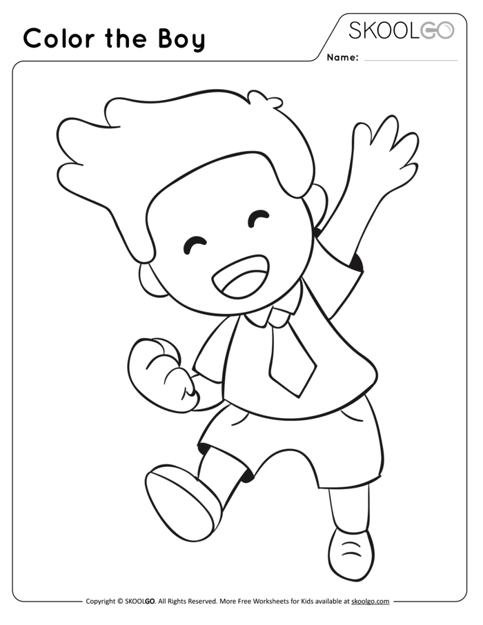 Color The Boy Free Worksheet (Black and White)