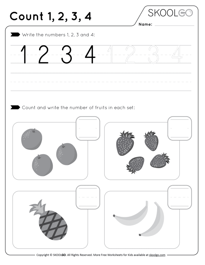 Count-1-2-3-4 Free Black and White Worksheet for Kids