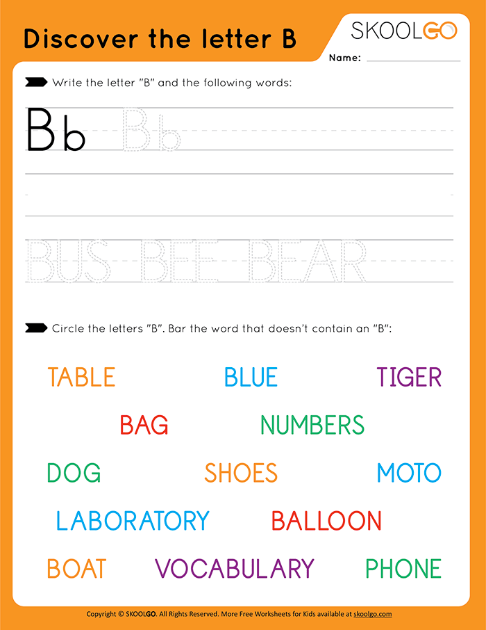 Discover The Letter B - Free Worksheet for Kids