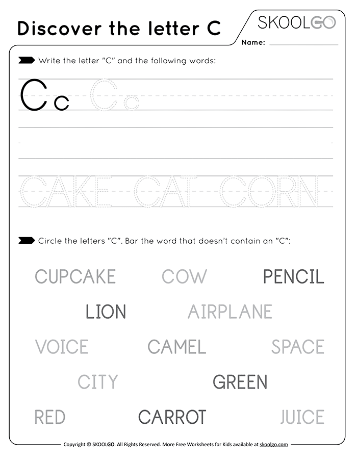 Discover The Letter C - Free Black and White Worksheet for Kids