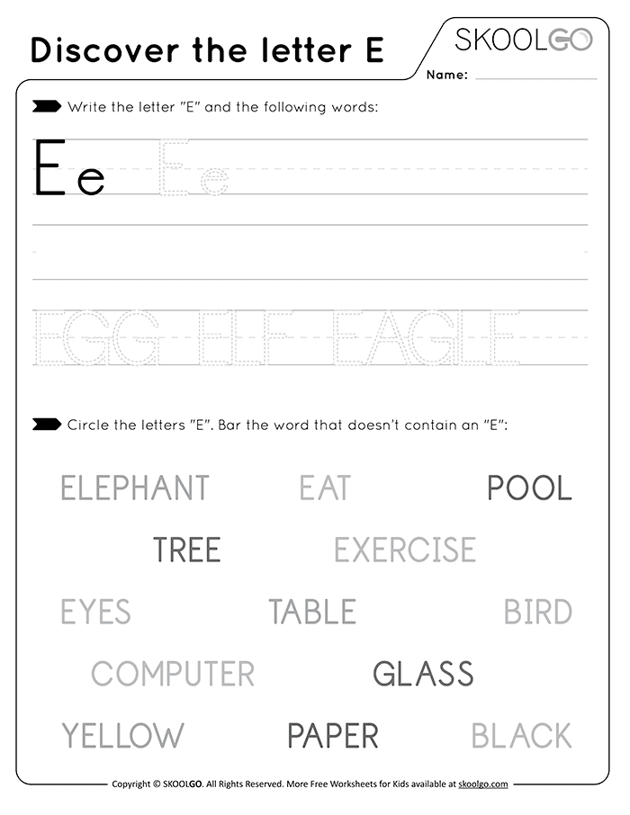 Discover The Letter E - Free Black and White Worksheet for Kids