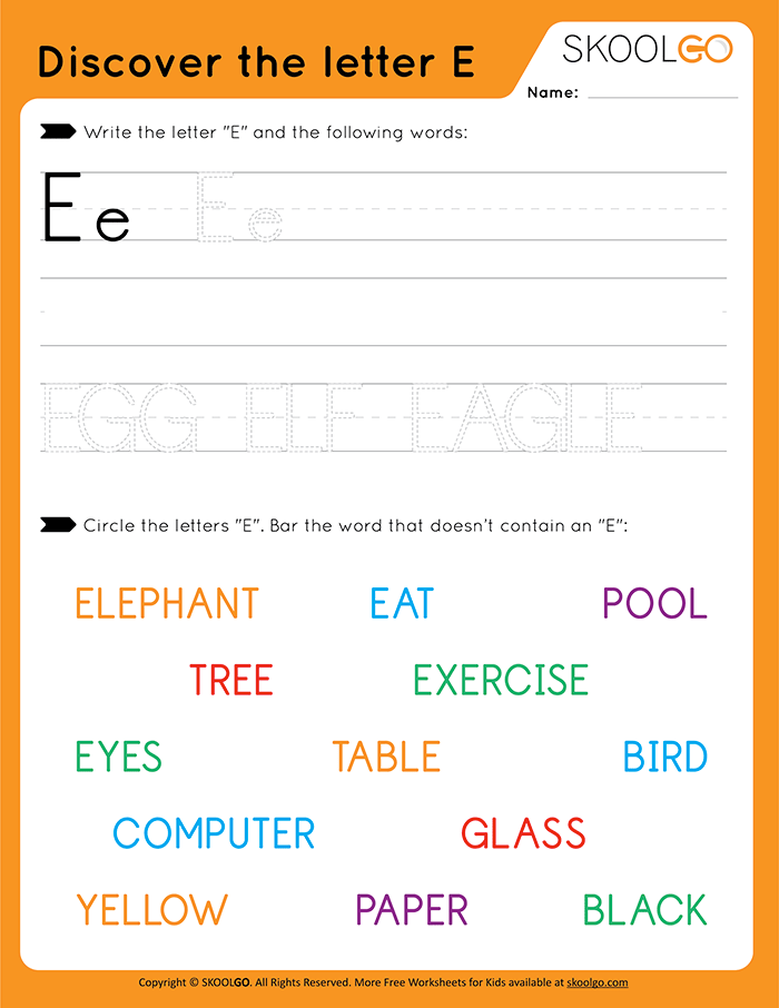 Discover The Letter E - Free Worksheet for Kids