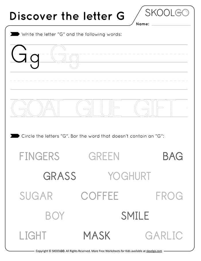 Discover The Letter G - Free Black and White Worksheet for Kids
