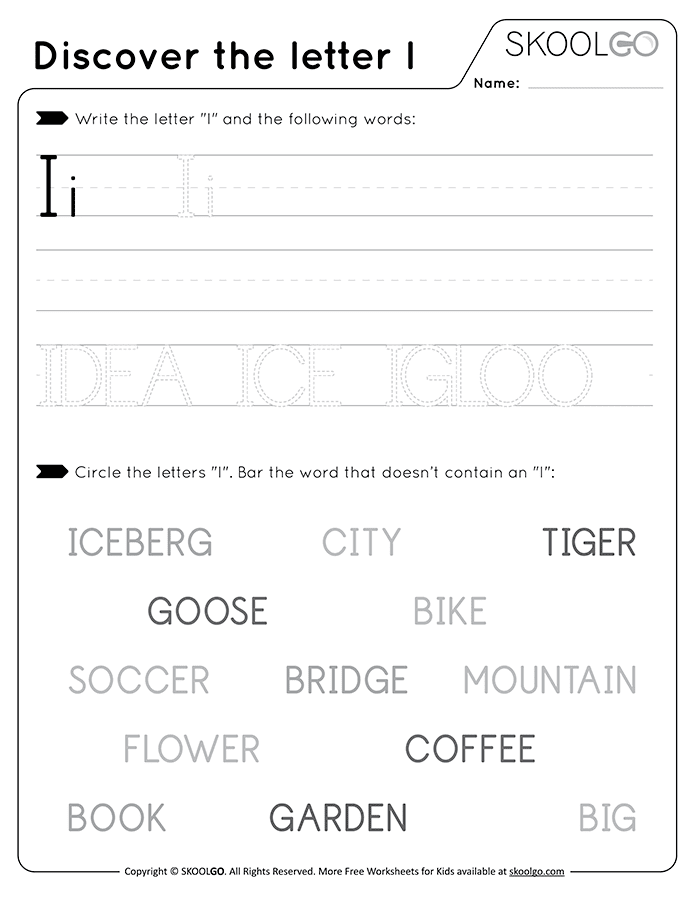 Discover The Letter I - Free Black and White Worksheet for Kids