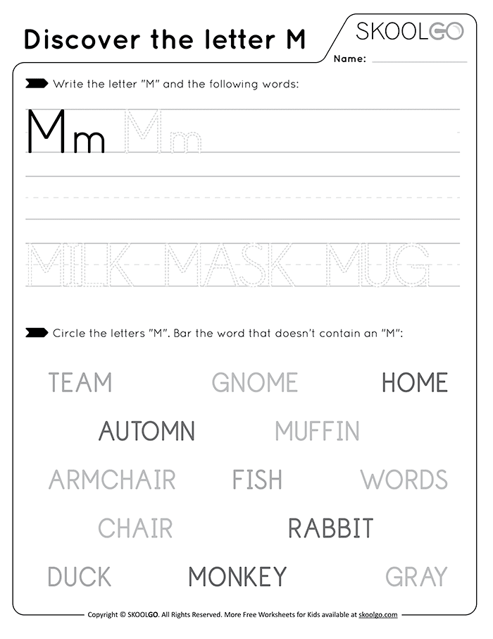 Discover The Letter M - Free Black and White Worksheet for Kids