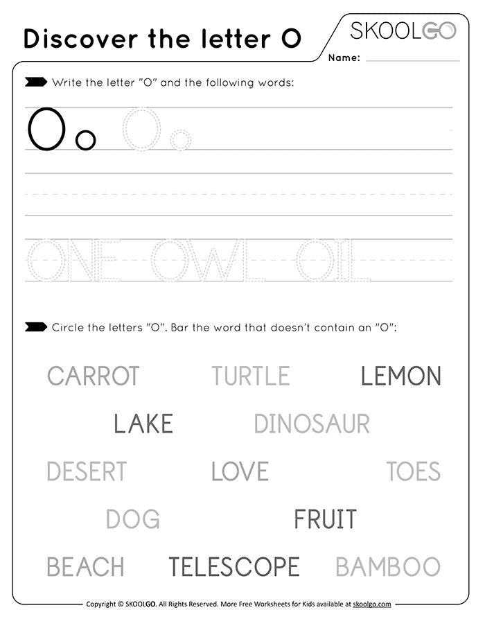 Discover The Letter O - Free Black and White Worksheet for Kids