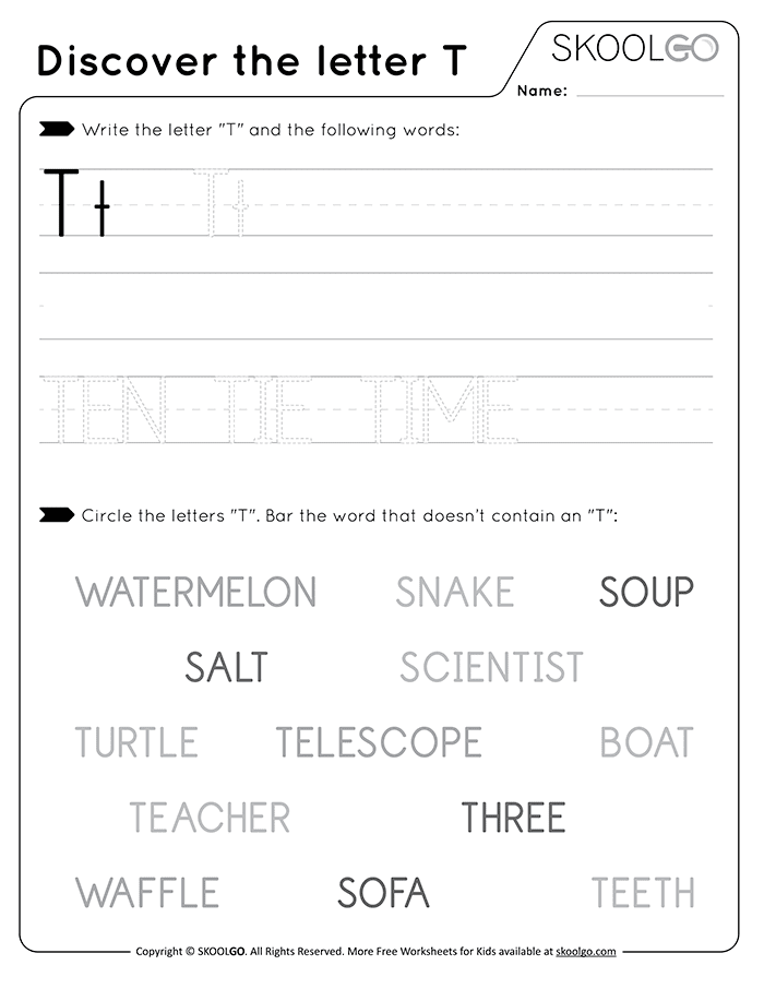 Discover The Letter T - Free Black and White Worksheet for Kids