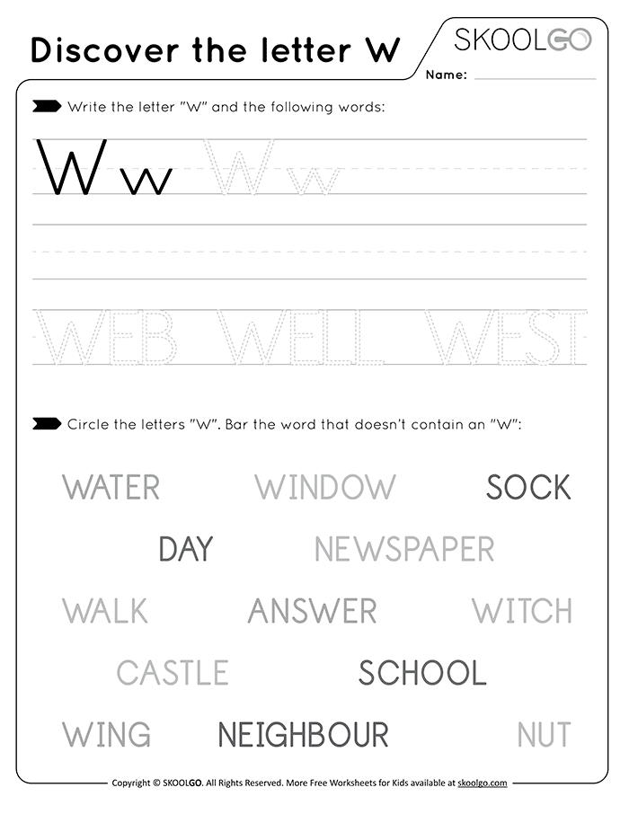 Discover The Letter W - Free Black and White Worksheet for Kids