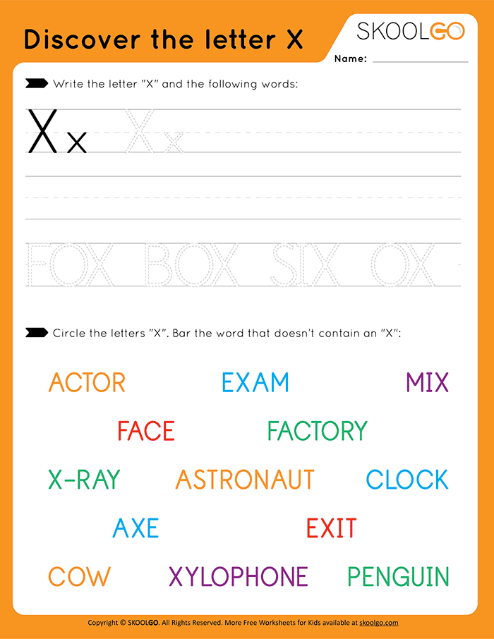 Discover The Letter X - Free Worksheet for Kids