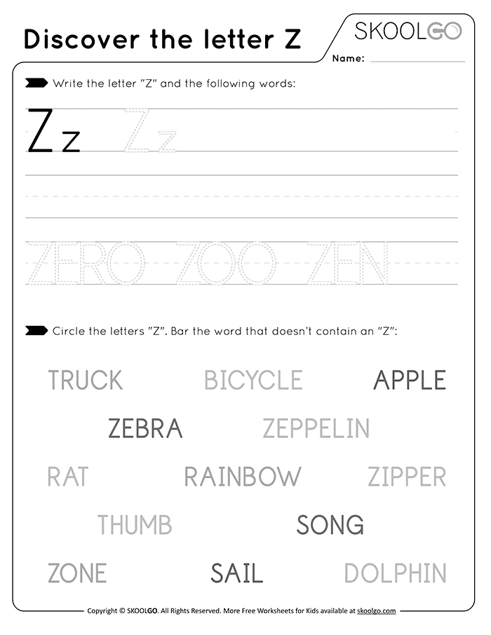 Discover The Letter Z - Free Black and White Worksheet for Kids
