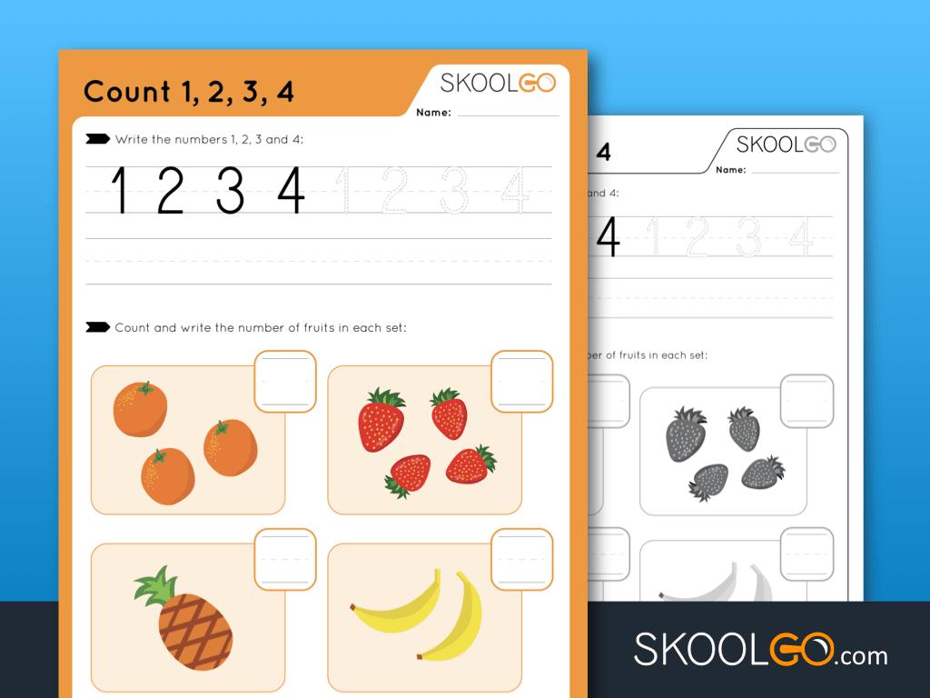 Worksheet for Kids - Count 1-2-3-4 - SKOOLGO