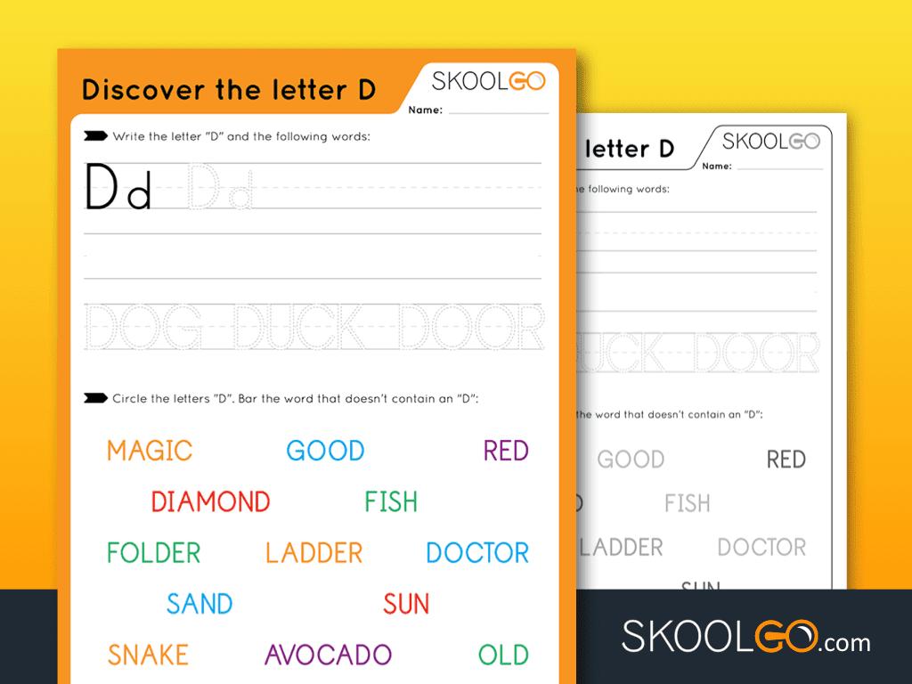 Free Worksheet for Kids - Discover The Letter D - SKOOLGO