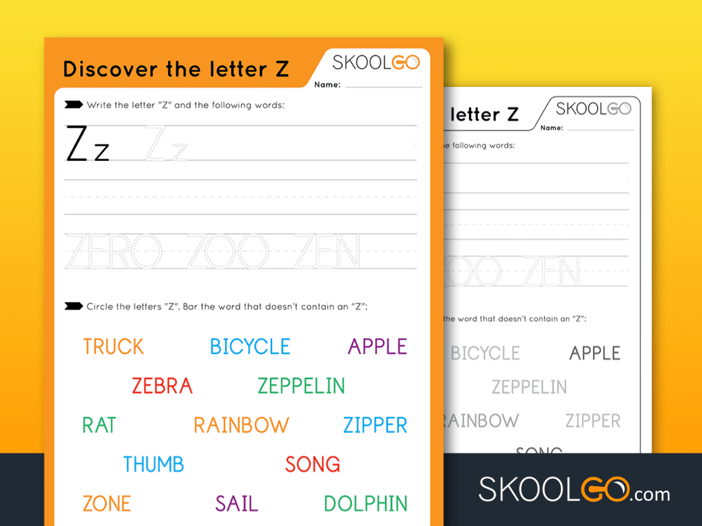 Free Worksheet for Kids - Discover The Letter Z - SKOOLGO
