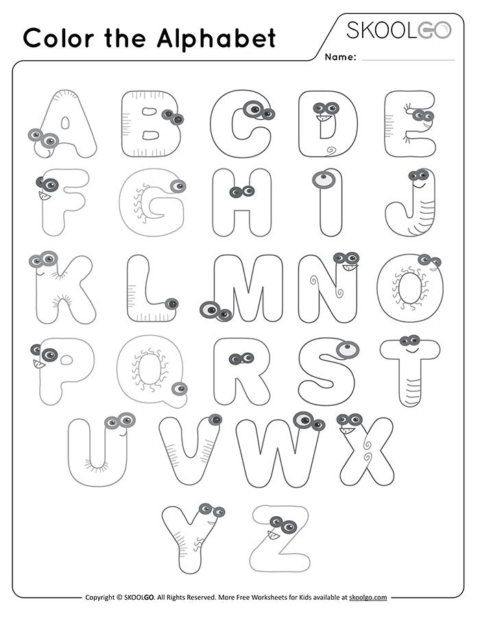 Color The Alphabet - Free Worksheet For Kids By SKOOLGO.com