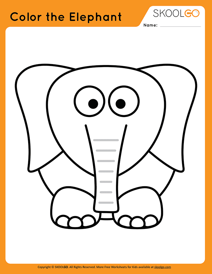 Color The Elephant - Free Worksheet for Kids