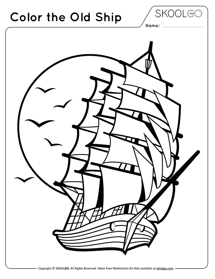 Color The Old Ship - Free Black and White Worksheet for Kids