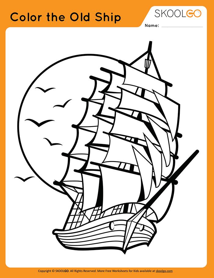 Color The Old Ship - Free Worksheet for Kids