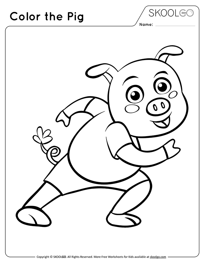 Color The Pig - Free Black and White Worksheet for Kids