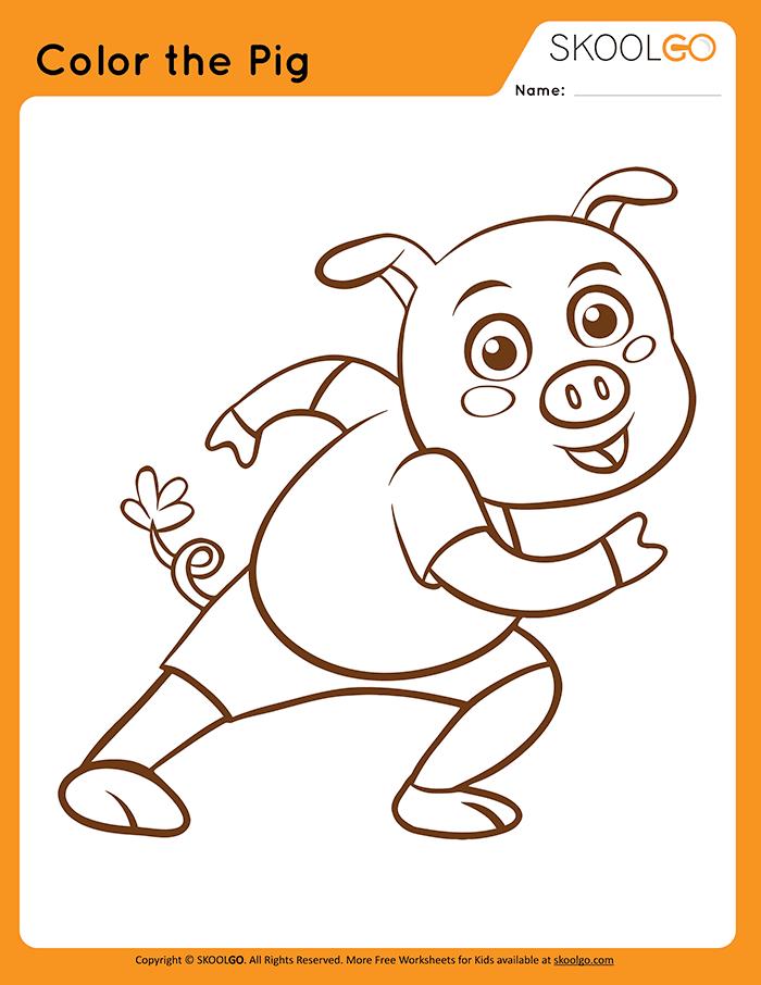 Color The Pig - Free Worksheet for Kids
