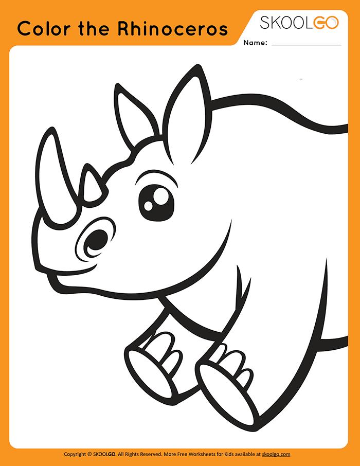 Color The Rhinoceros - Free Worksheet for Kids
