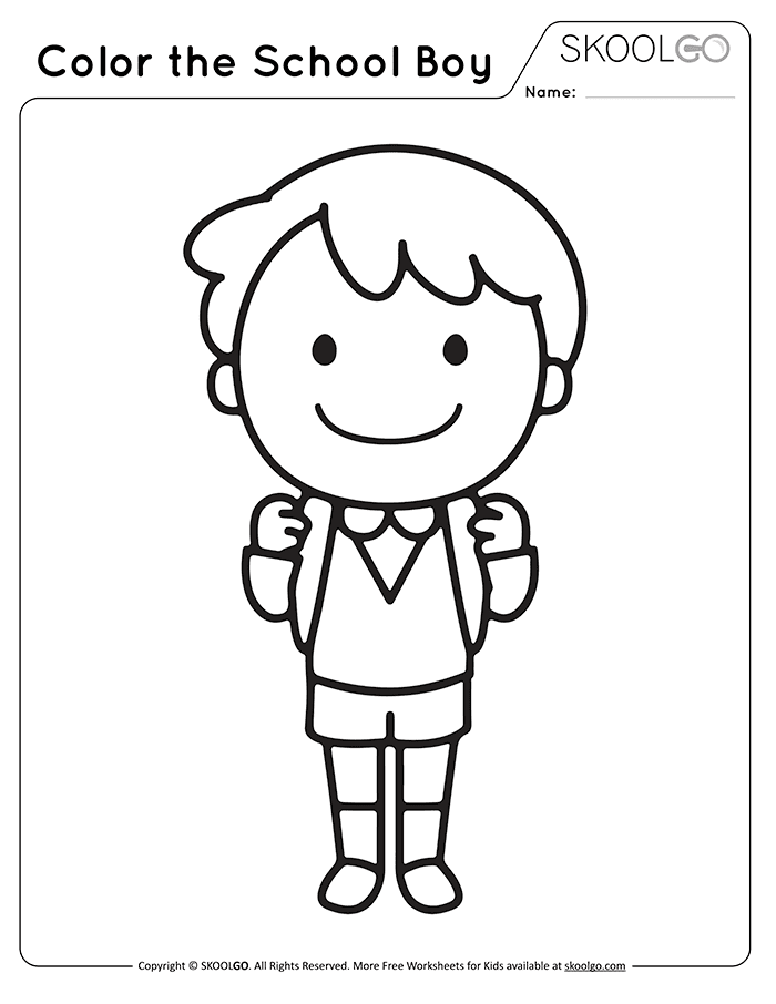 Color The School Boy - Free Black and White Worksheet for Kids