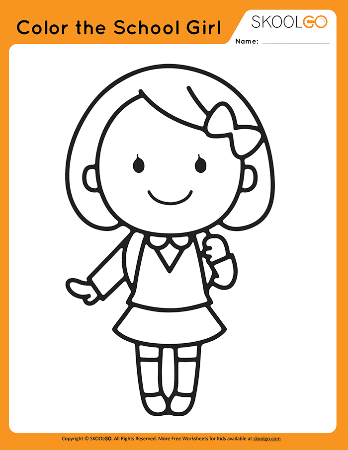 Color The School Girl - Free Worksheet for Kids