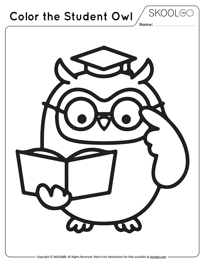 Color The Student Owl - Free Black and White Worksheet for Kids