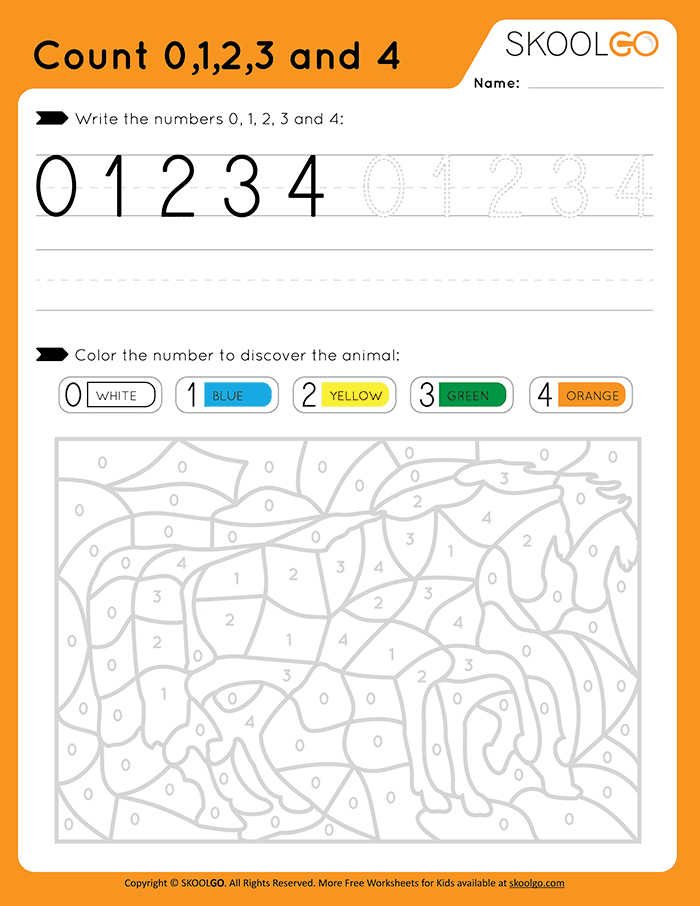 Count 0-1-2-3-4 - Free Worksheet for Kids
