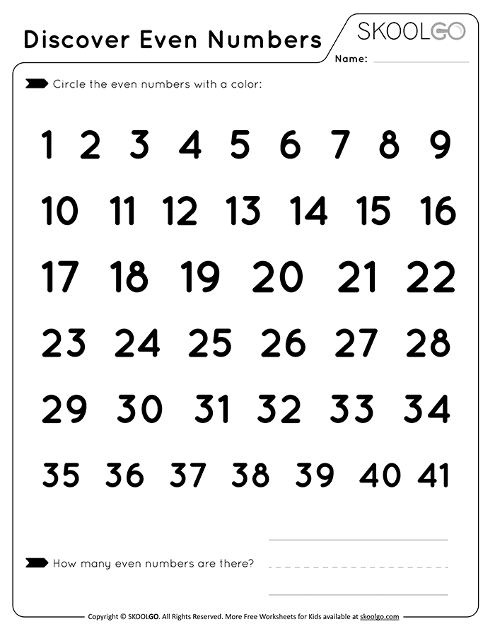 Discover Even Numbers - Free Black and White Worksheet for Kids