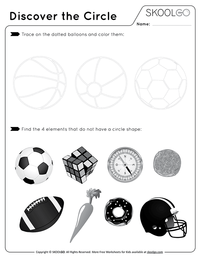 Discover The Circle - Free Black and White Worksheet for Kids