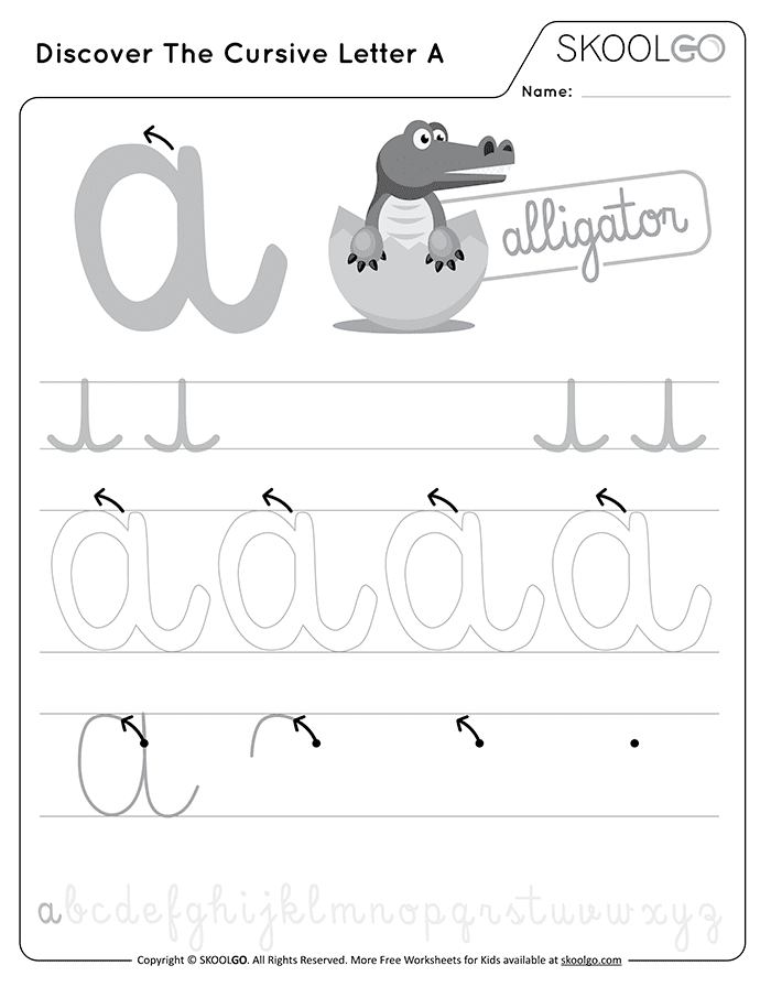 Discover The Cursive Letter A - Free Black and White Worksheet for Kids