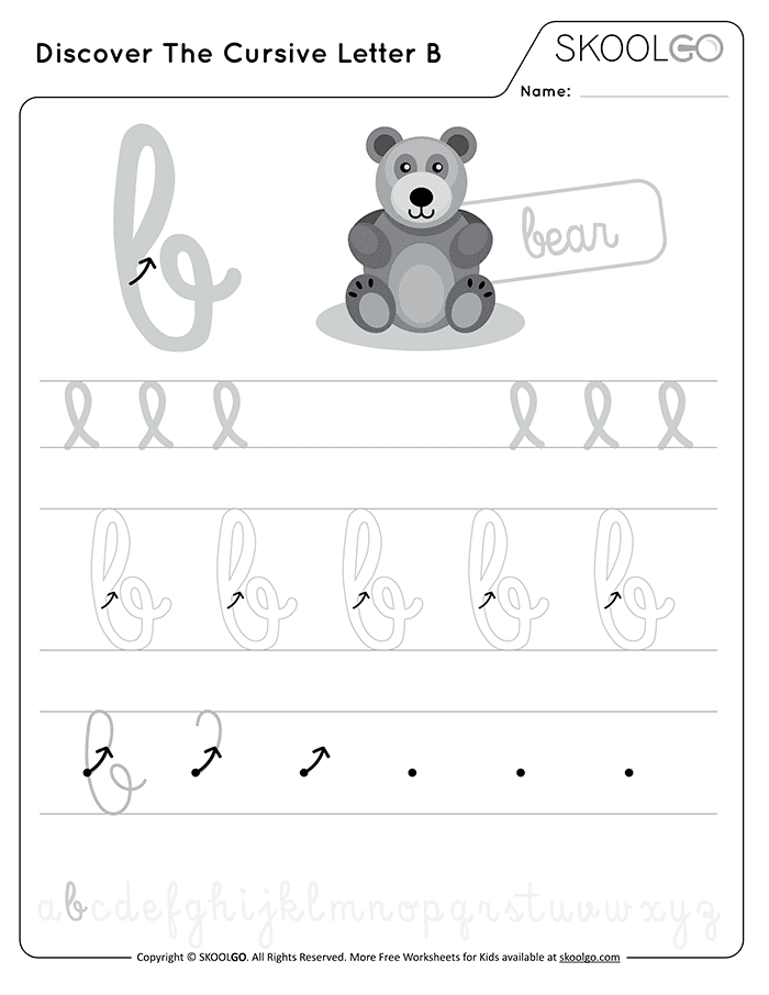 Discover The Cursive Letter B - Free Black and White Worksheet for Kids