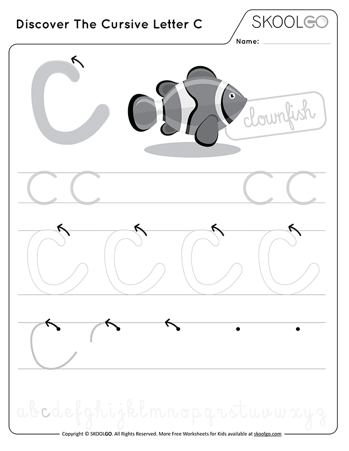 Discover The Cursive Letter C - Free Black and White Worksheet for Kids