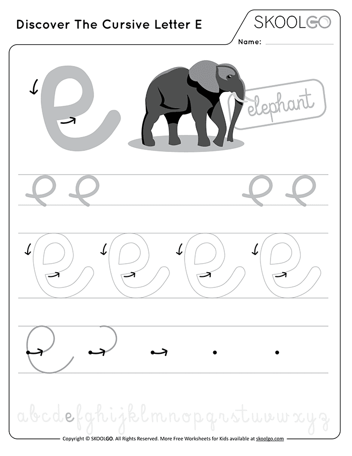 Discover The Cursive Letter E - Free Black and White Worksheet for Kids