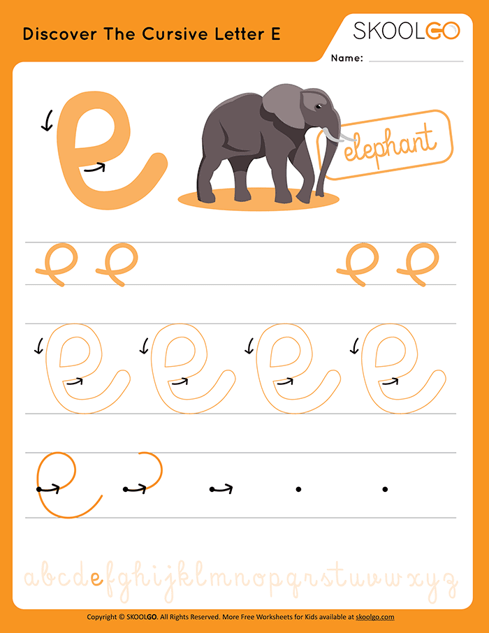 Discover The Cursive Letter E - Free Worksheet for Kids