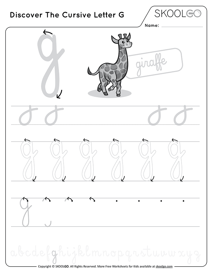 Discover The Cursive Letter G - Free Black and White Worksheet for Kids