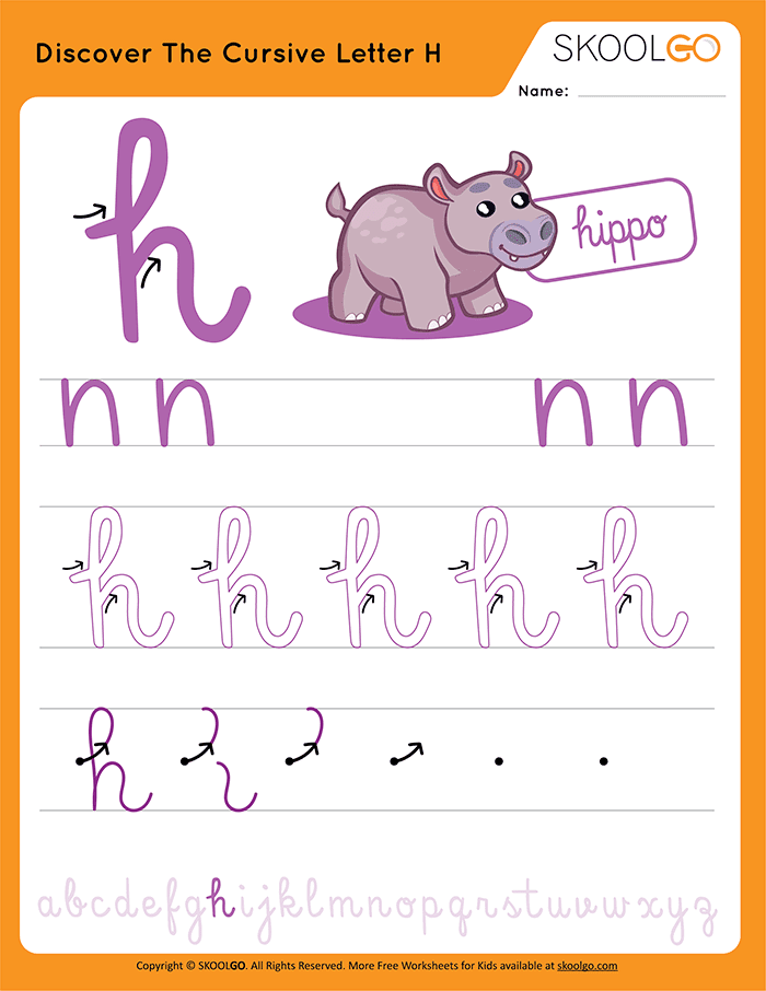 Discover The Cursive Letter H - Free Worksheet for Kids