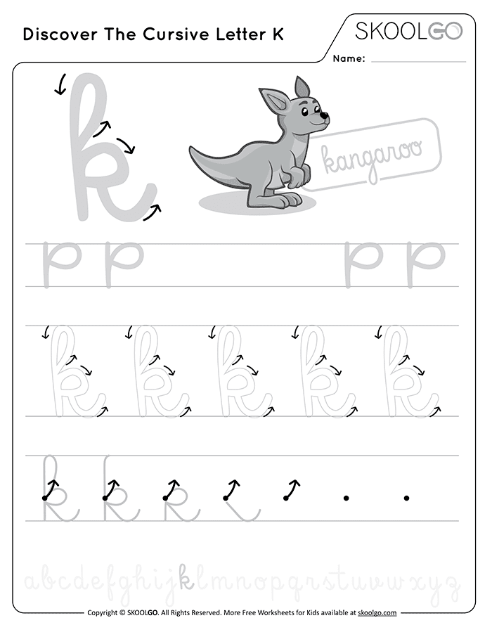 Discover The Cursive Letter K - Free Black and White Worksheet for Kids