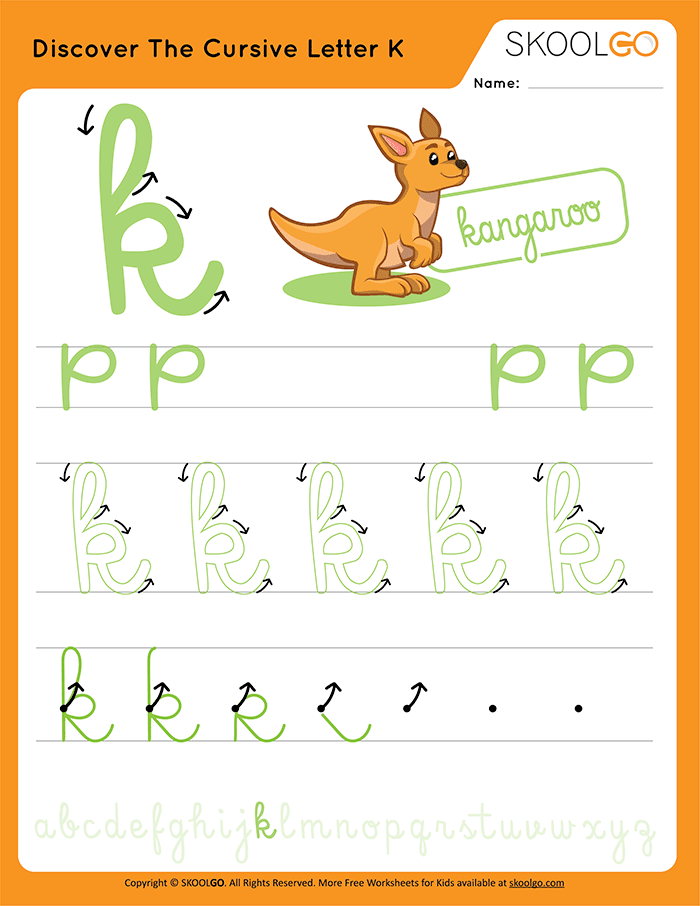 Discover The Cursive Letter K - Free Worksheet for Kids