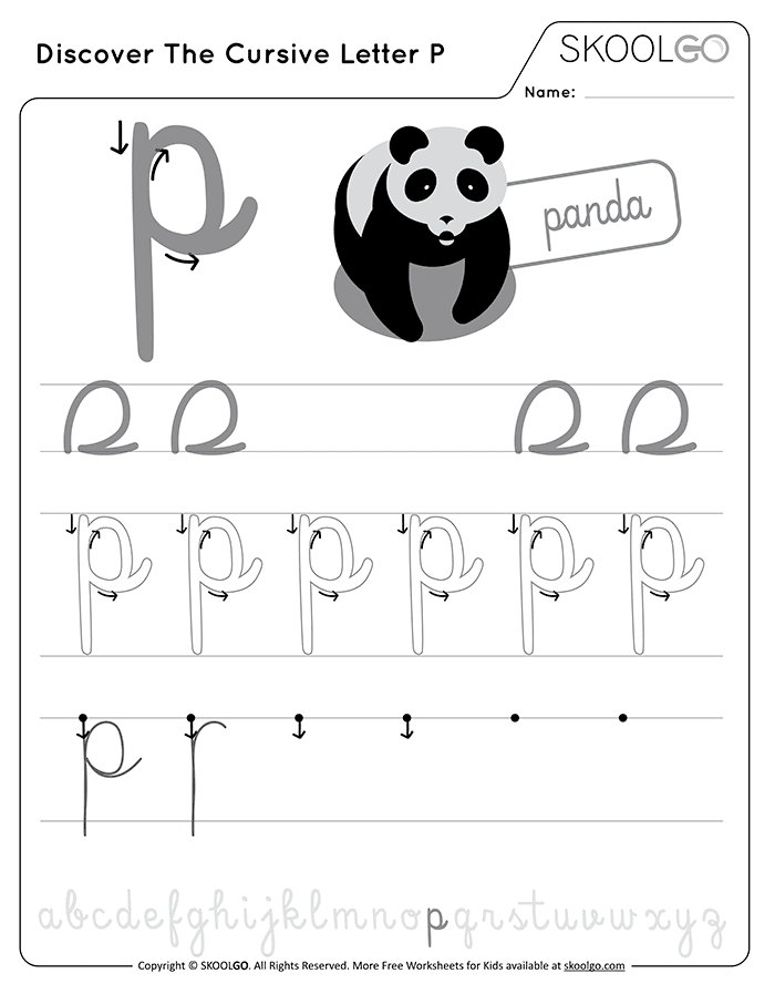 Discover The Cursive Letter P - Free Black and White Worksheet for Kids