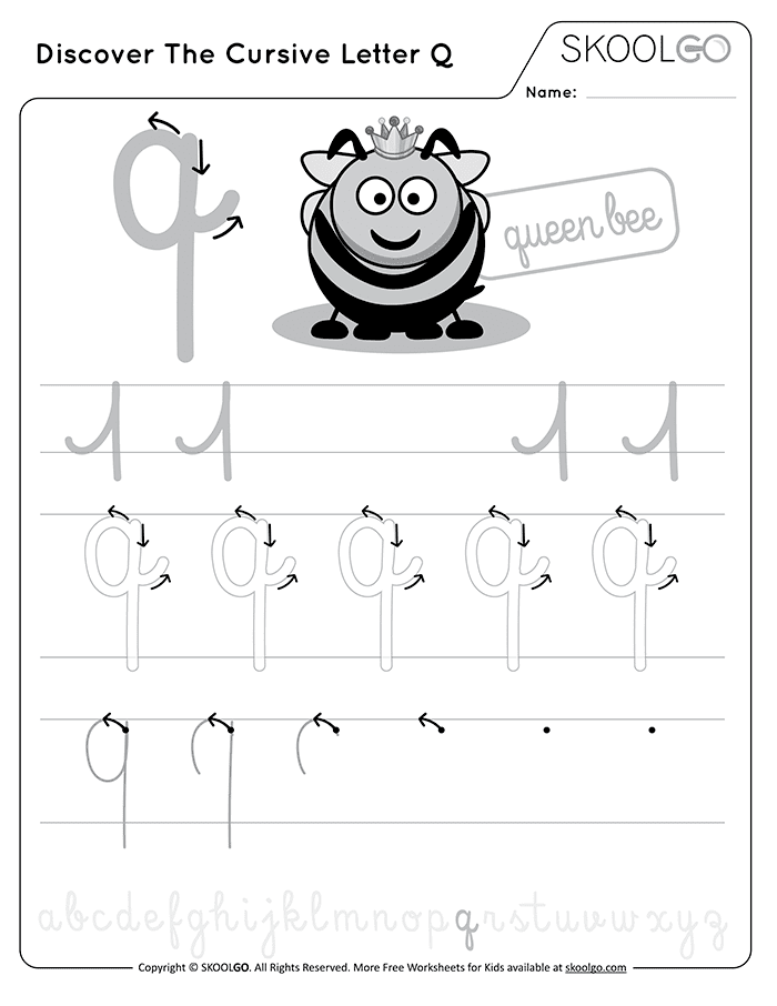 Discover The Cursive Letter Q - Free Black and White Worksheet for Kids