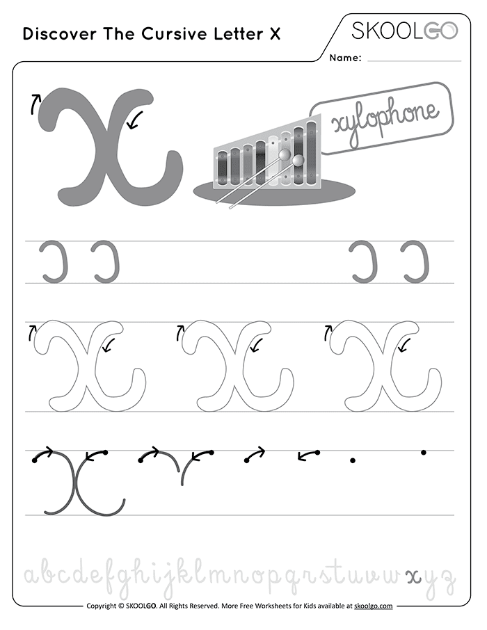 Discover The Cursive Letter X - Free Black and White Worksheet for Kids
