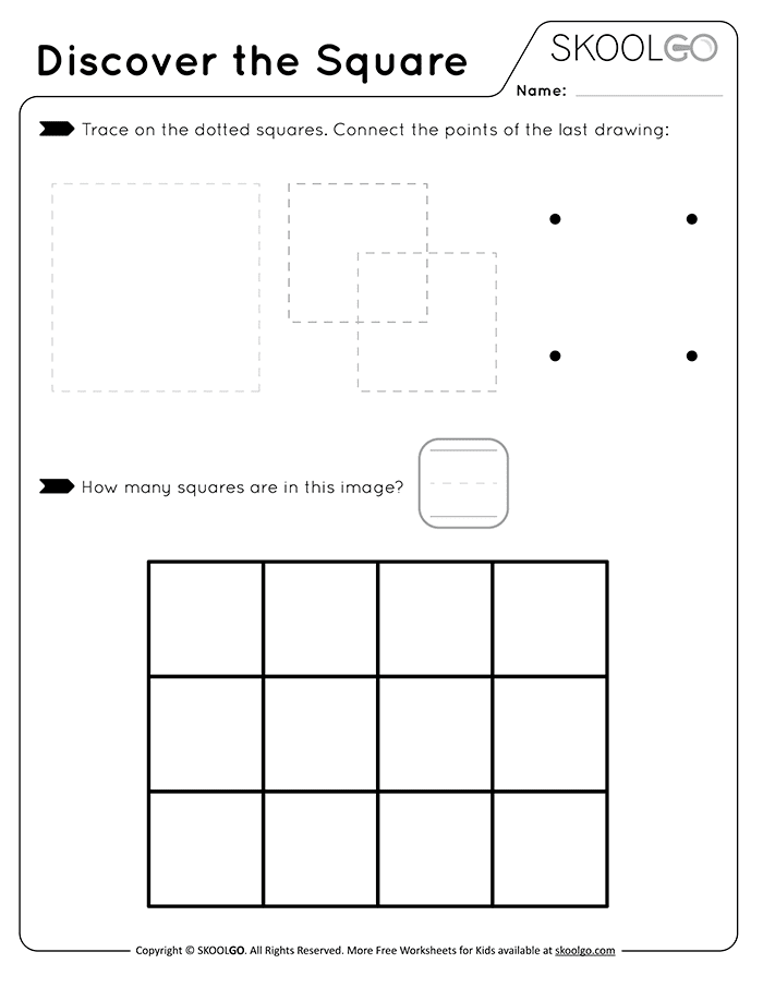 Discover The Square - Free Black and White Worksheet for Kids