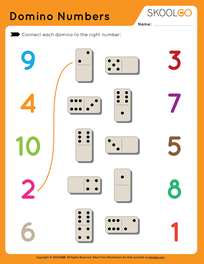 Domino Numbers - Free Worksheet for Kids