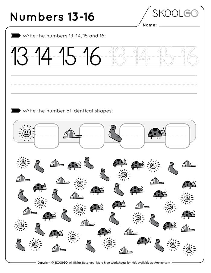 Numbers 13-16 - Free Worksheet For Kids By SKOOLGO.com