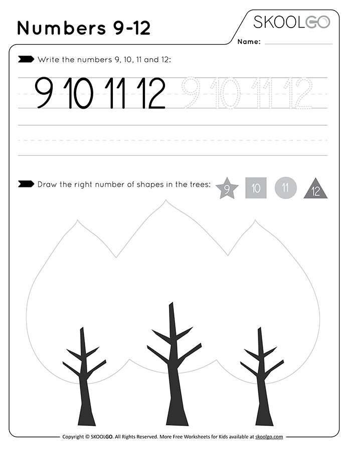 Numbers 9-12 - Free Black and White Worksheet for Kids