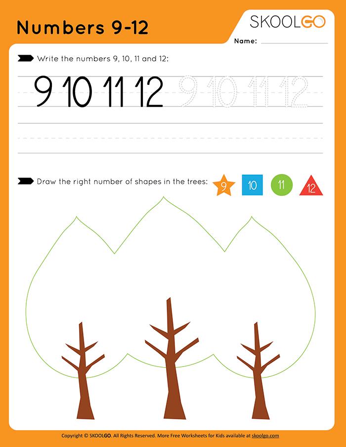 Numbers 9-12 - Free Worksheet For Kids By SKOOLGO.com