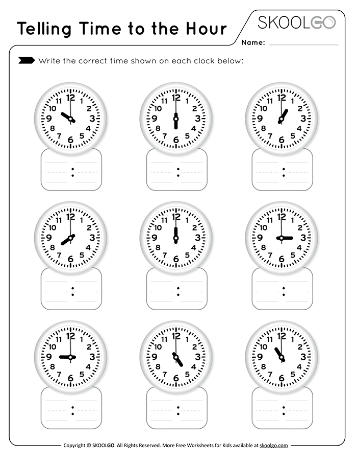 Telling Time to the Hour - Free Black and White Worksheet for Kids