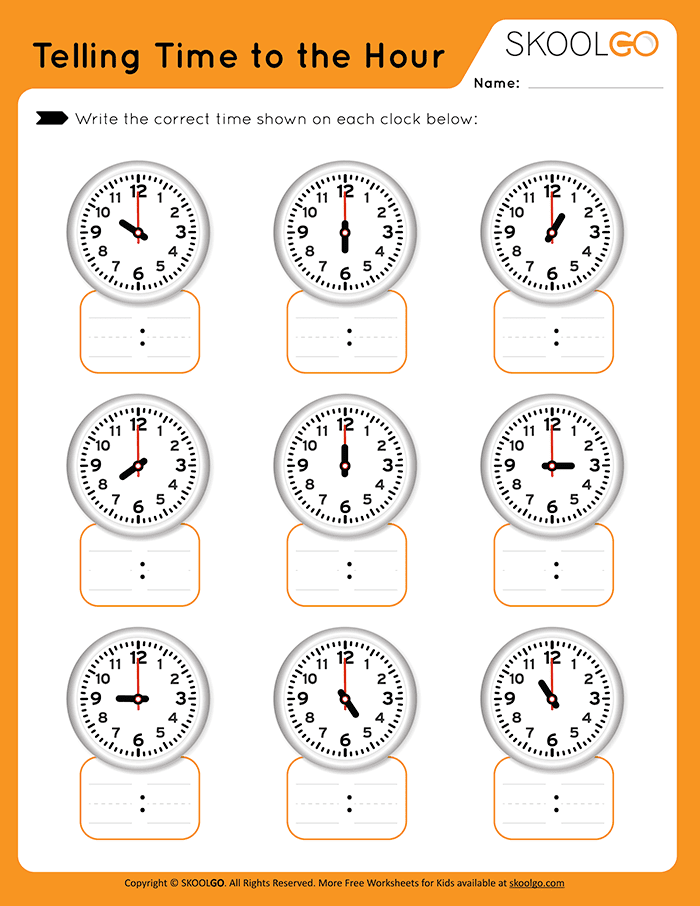 Telling Time to the Hour - Free Worksheet for Kids