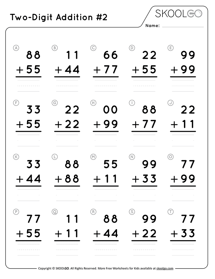 Two-Digit Addition 2 - Free Black and White Worksheet for Kids